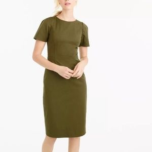 J.Crew Olive Army Green Gathered Sleeve Dress Tall